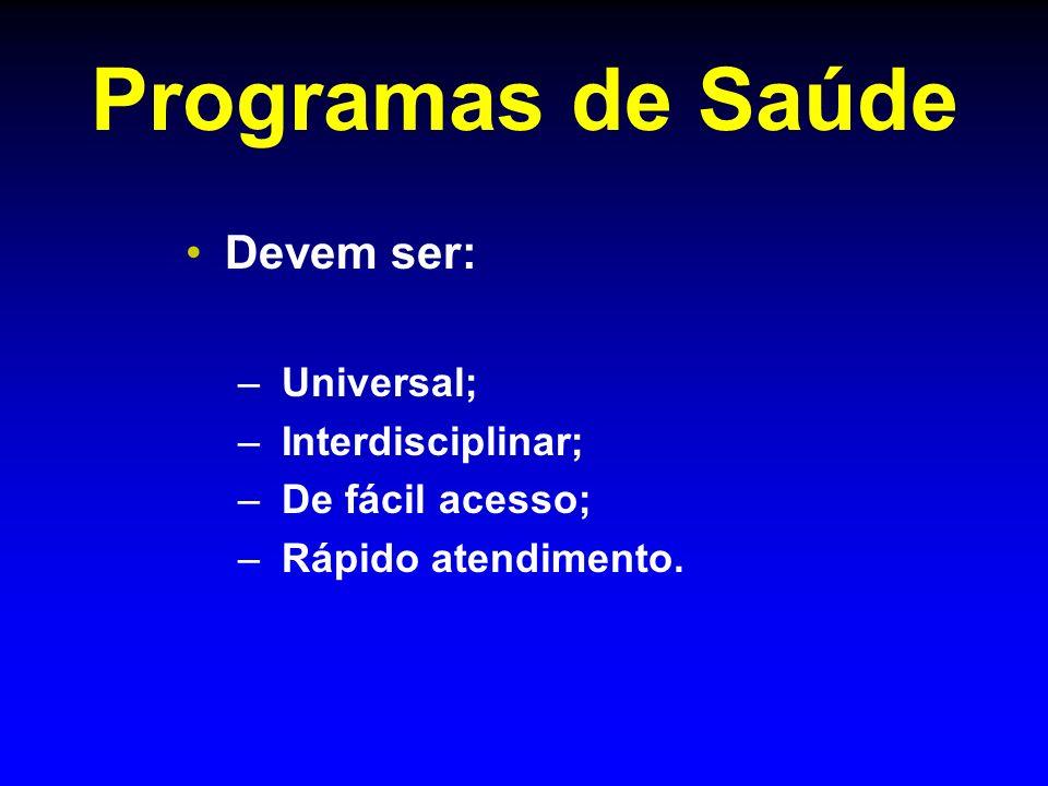 Programas de Saúde Devem ser: Universal; Interdisciplinar;