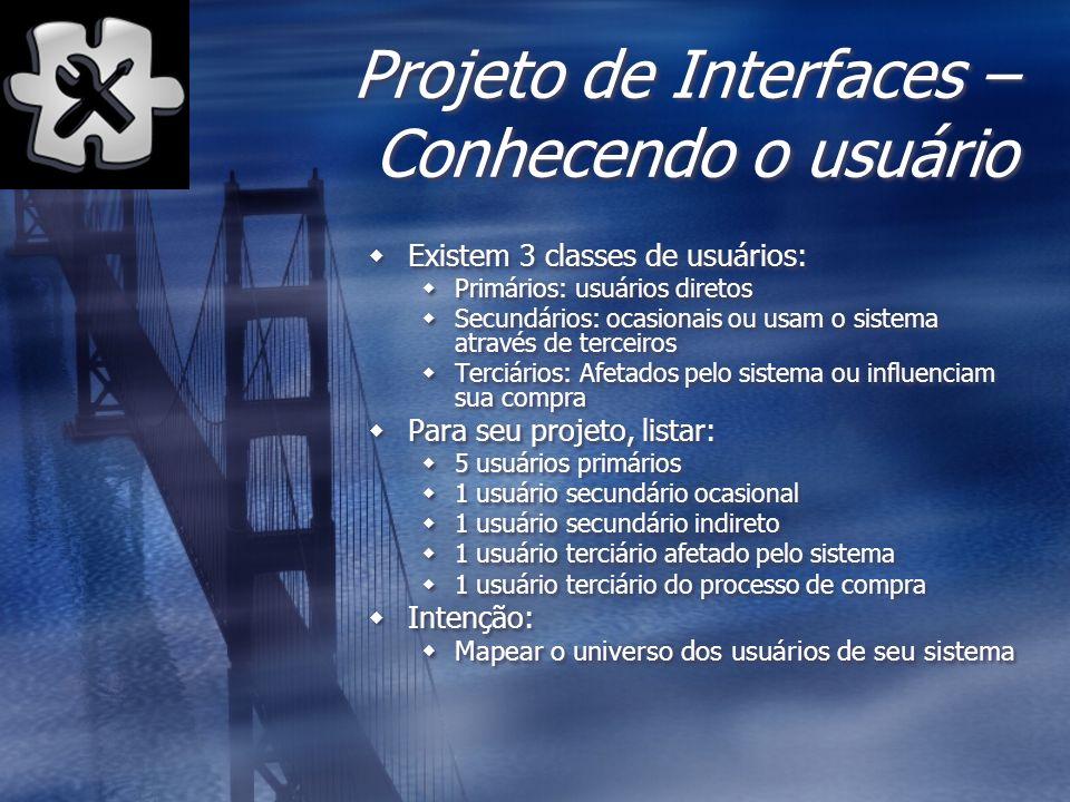 Projeto de Interfaces – Conhecendo o usuário