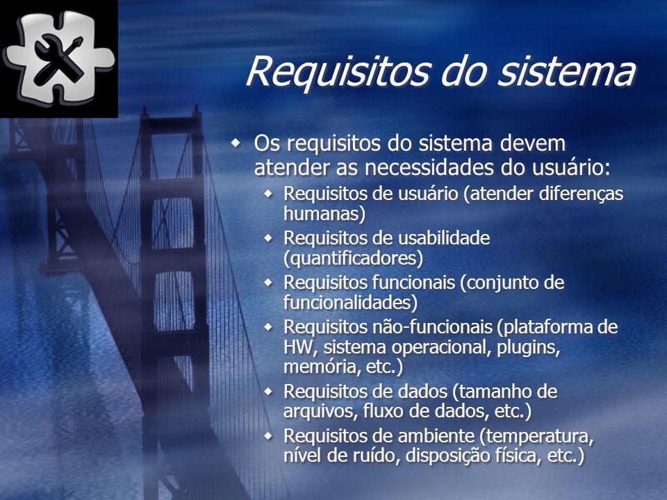 Requisitos do sistema Os requisitos do sistema devem atender as necessidades do usuário: Requisitos de usuário (atender diferenças humanas)
