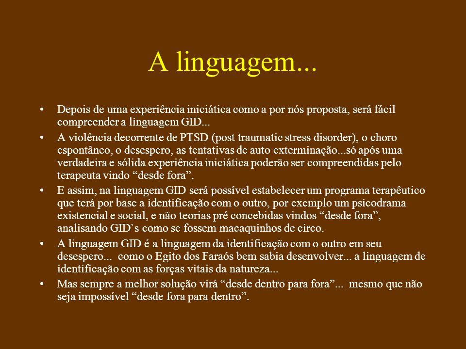A linguagem... Depois de uma experiência iniciática como a por nós proposta, será fácil compreender a linguagem GID...