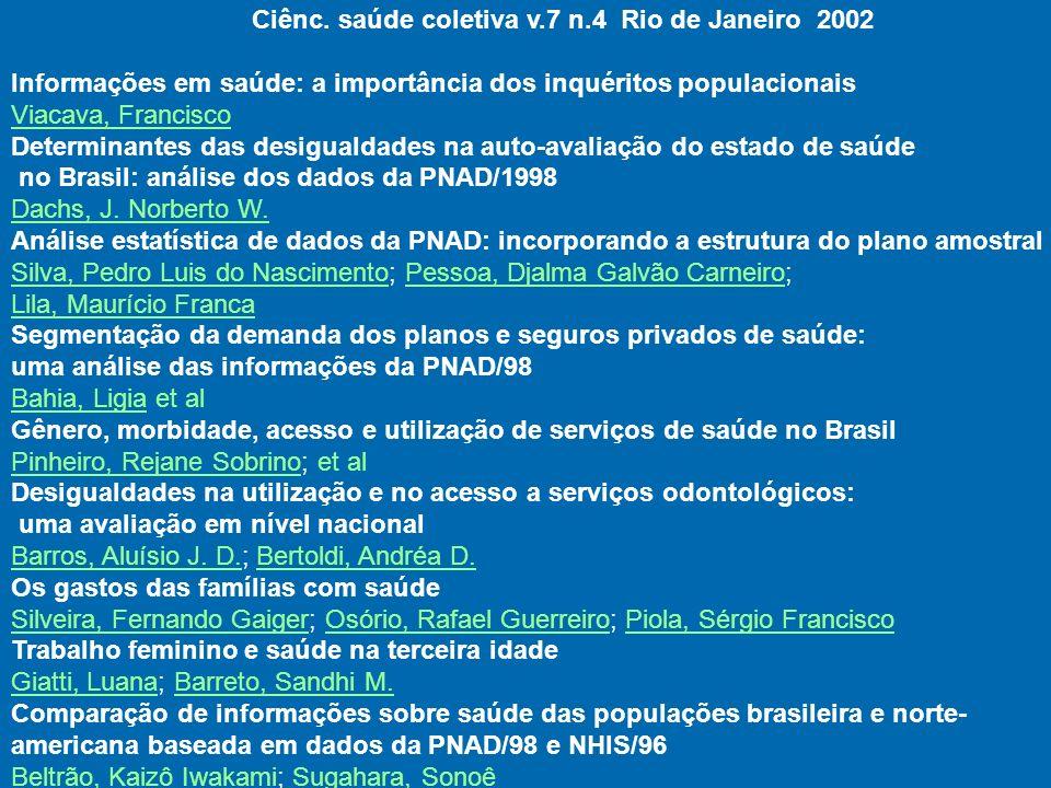 Ciênc. saúde coletiva v.7 n.4 Rio de Janeiro 2002