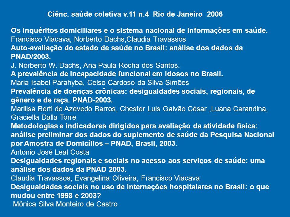 Ciênc. saúde coletiva v.11 n.4 Rio de Janeiro 2006
