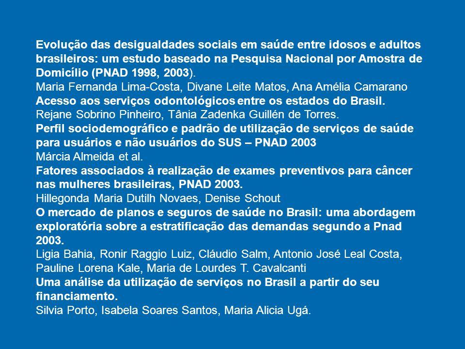 Evolução das desigualdades sociais em saúde entre idosos e adultos brasileiros: um estudo baseado na Pesquisa Nacional por Amostra de Domicílio (PNAD 1998, 2003).