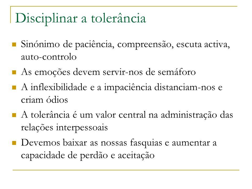 Disciplinar a tolerância