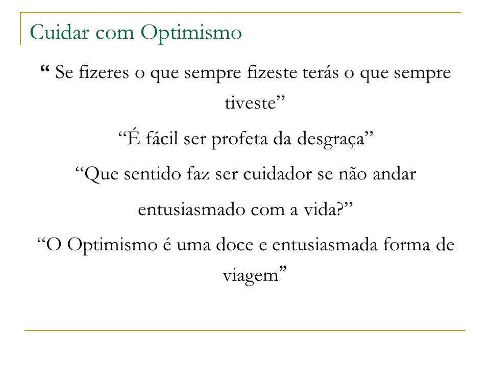 Cuidar com Optimismo Se fizeres o que sempre fizeste terás o que sempre tiveste É fácil ser profeta da desgraça