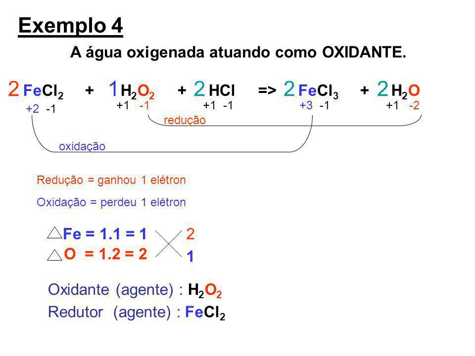 Exemplo 4 2 1 2 2 2 A água oxigenada atuando como OXIDANTE.