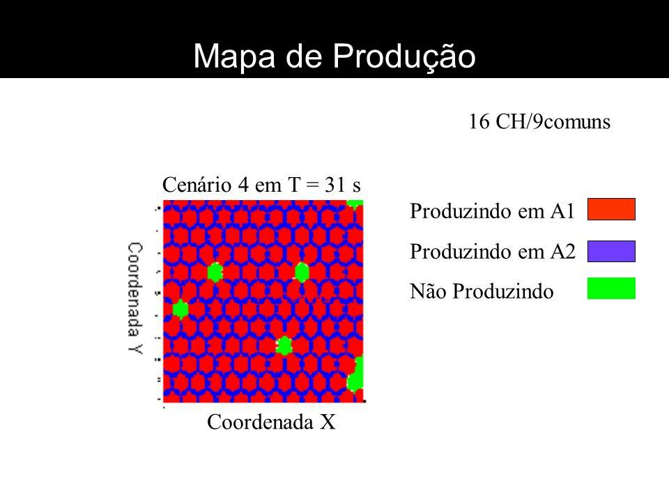Mapa de Produção 16 CH/9comuns Cenário 4 em T = 31 s Produzindo em A1