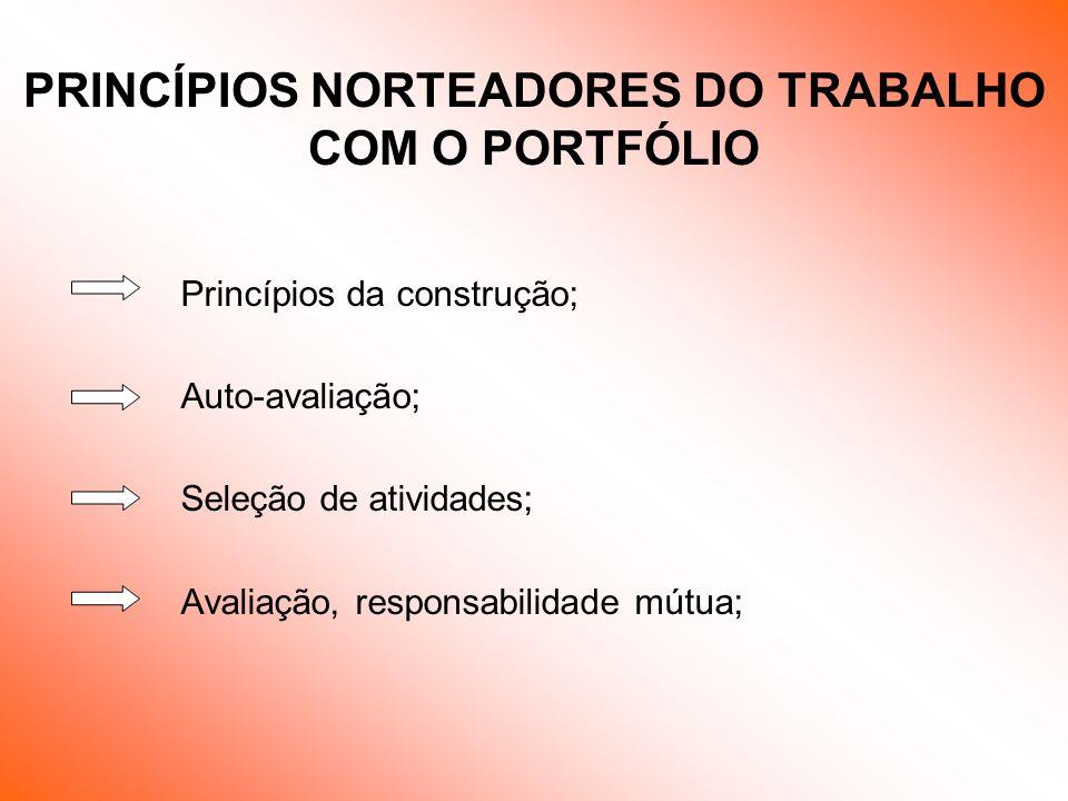 PRINCÍPIOS NORTEADORES DO TRABALHO COM O PORTFÓLIO
