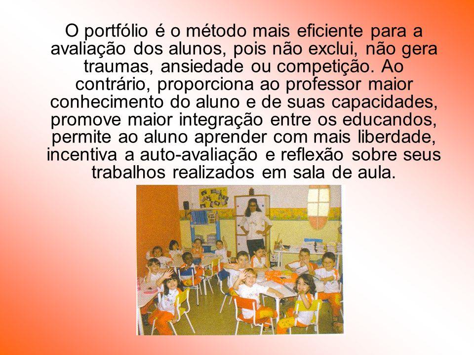 O portfólio é o método mais eficiente para a avaliação dos alunos, pois não exclui, não gera traumas, ansiedade ou competição.
