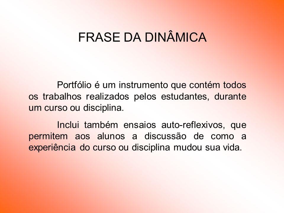 FRASE DA DINÂMICA Portfólio é um instrumento que contém todos os trabalhos realizados pelos estudantes, durante um curso ou disciplina.