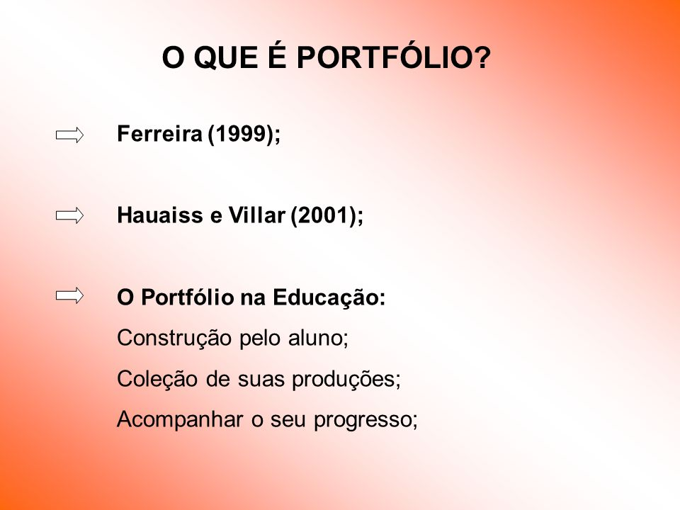 O QUE É PORTFÓLIO Ferreira (1999); Hauaiss e Villar (2001);