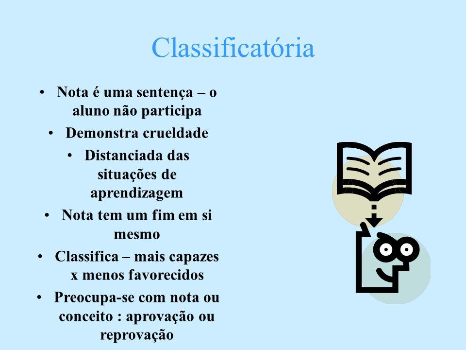 Classificatória Nota é uma sentença – o aluno não participa