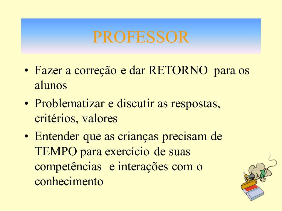 PROFESSOR Fazer a correção e dar RETORNO para os alunos