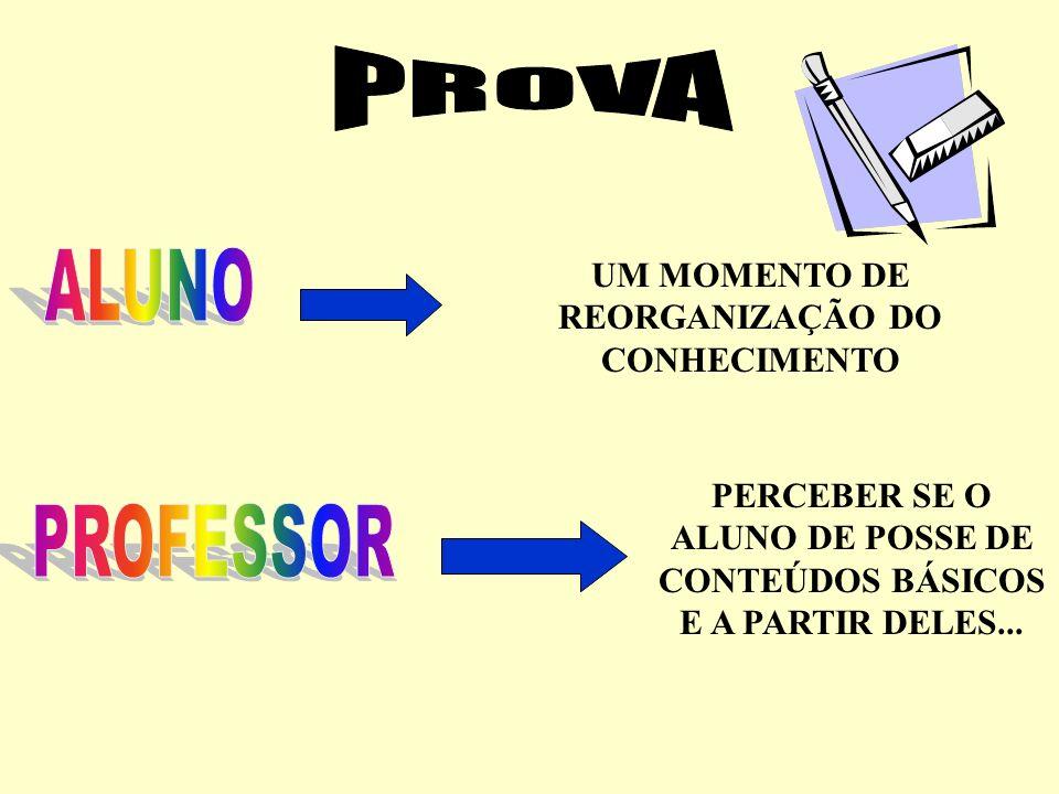 PROVA ALUNO PROFESSOR UM MOMENTO DE REORGANIZAÇÃO DO CONHECIMENTO