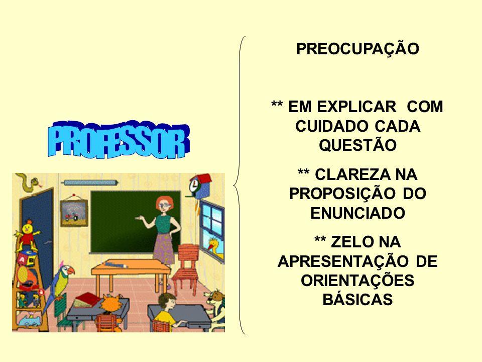 PROFESSOR PREOCUPAÇÃO ** EM EXPLICAR COM CUIDADO CADA QUESTÃO