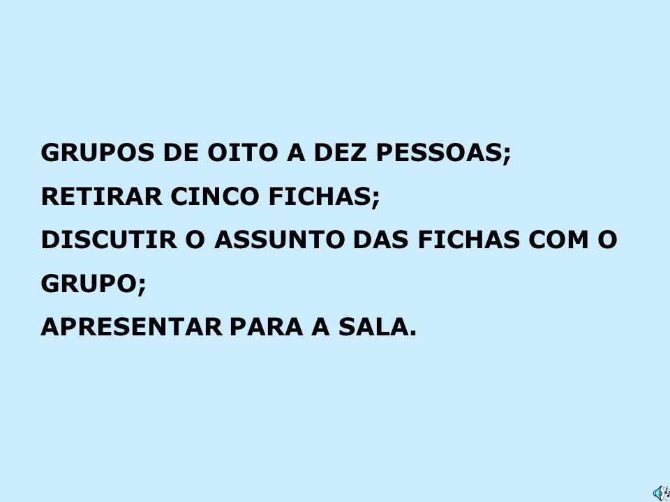 GRUPOS DE OITO A DEZ PESSOAS;