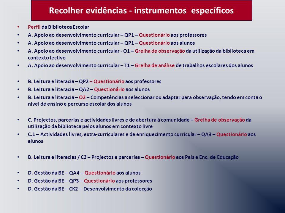 Recolher evidências - instrumentos específicos