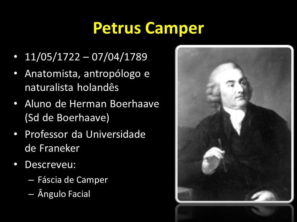 Petrus Camper 11/05/1722 – 07/04/1789. Anatomista, antropólogo e naturalista holandês. Aluno de Herman Boerhaave (Sd de Boerhaave)