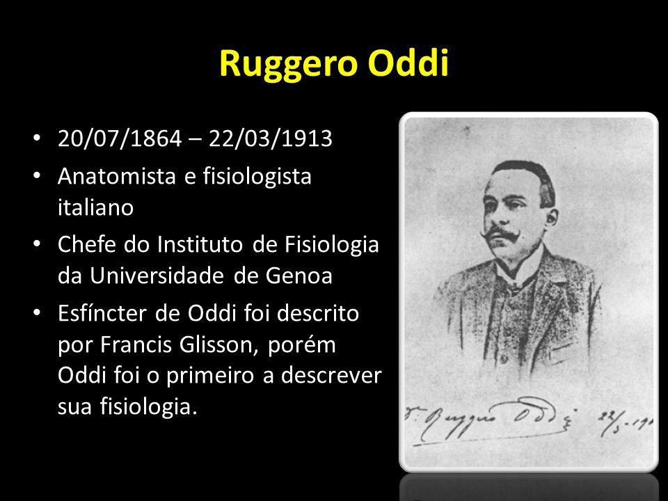 Ruggero Oddi 20/07/1864 – 22/03/1913. Anatomista e fisiologista italiano. Chefe do Instituto de Fisiologia da Universidade de Genoa.