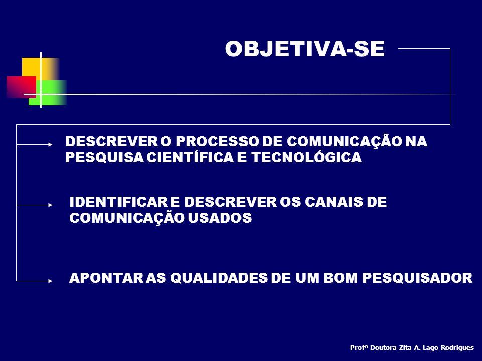 OBJETIVA-SE DESCREVER O PROCESSO DE COMUNICAÇÃO NA PESQUISA CIENTÍFICA E TECNOLÓGICA. IDENTIFICAR E DESCREVER OS CANAIS DE COMUNICAÇÃO USADOS.