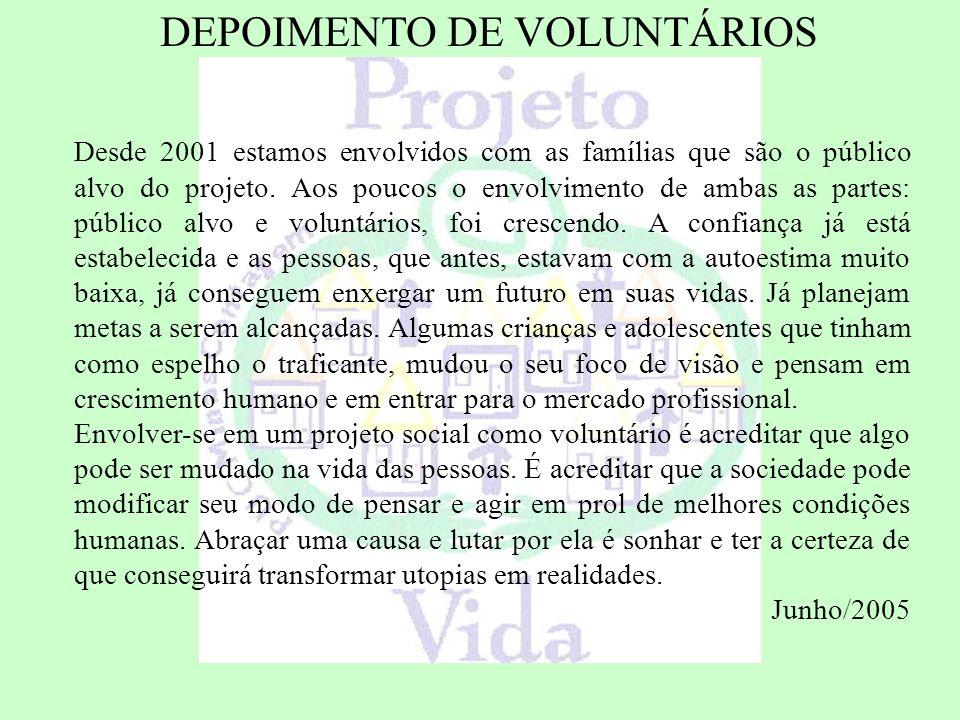 DEPOIMENTO DE VOLUNTÁRIOS