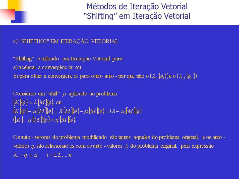 Métodos de Iteração Vetorial Shifting em Iteração Vetorial