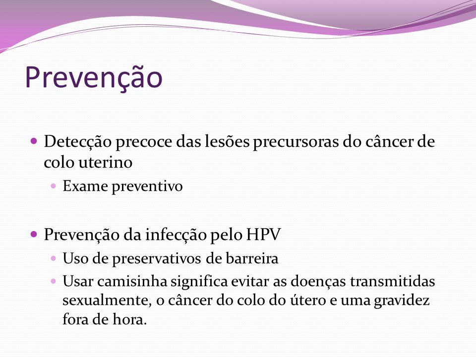 Prevenção Detecção precoce das lesões precursoras do câncer de colo uterino. Exame preventivo. Prevenção da infecção pelo HPV.