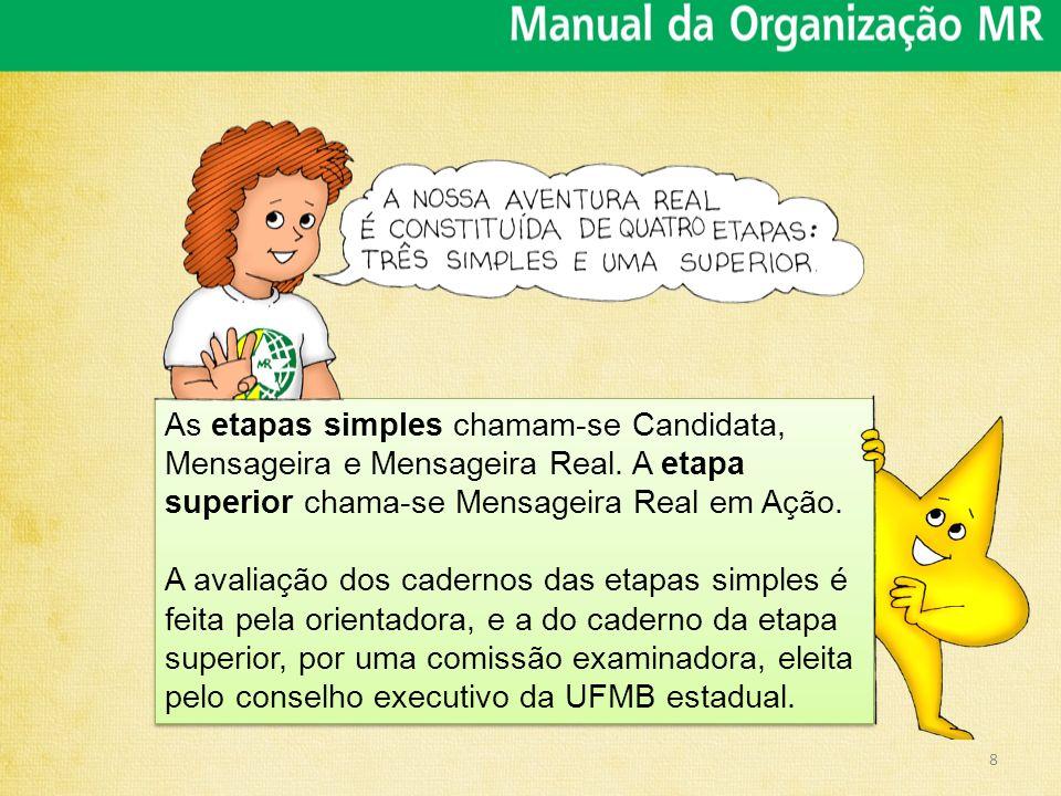As etapas simples chamam-se Candidata, Mensageira e Mensageira Real
