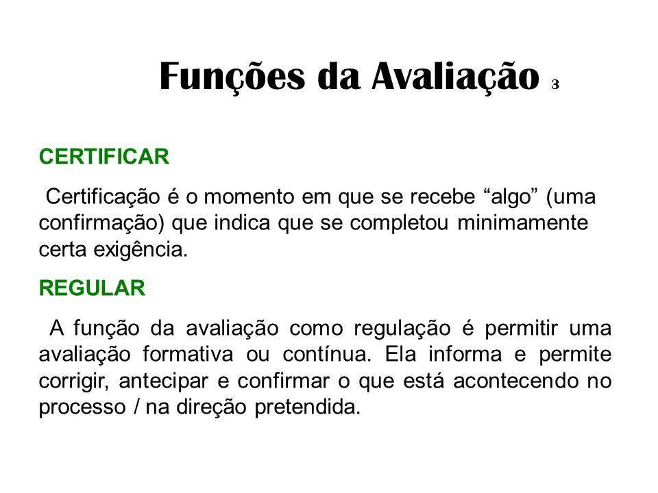 Funções da Avaliação 3 CERTIFICAR