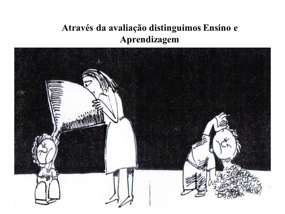 Através da avaliação distinguimos Ensino e Aprendizagem