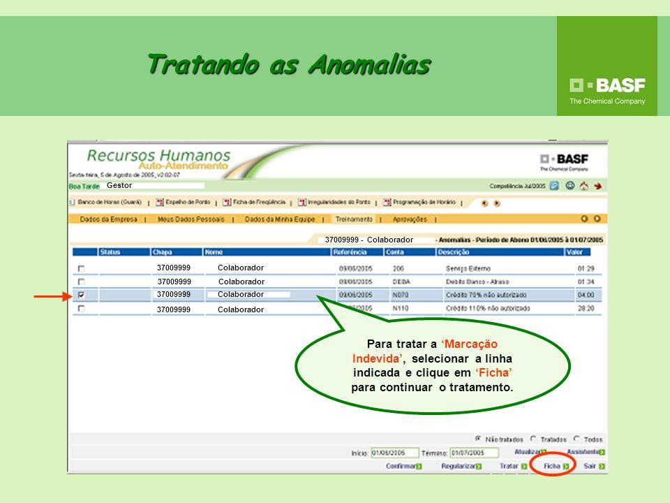 Tratando as Anomalias Gestor. 37009999 - Colaborador. 37009999 Colaborador. 37009999 Colaborador.