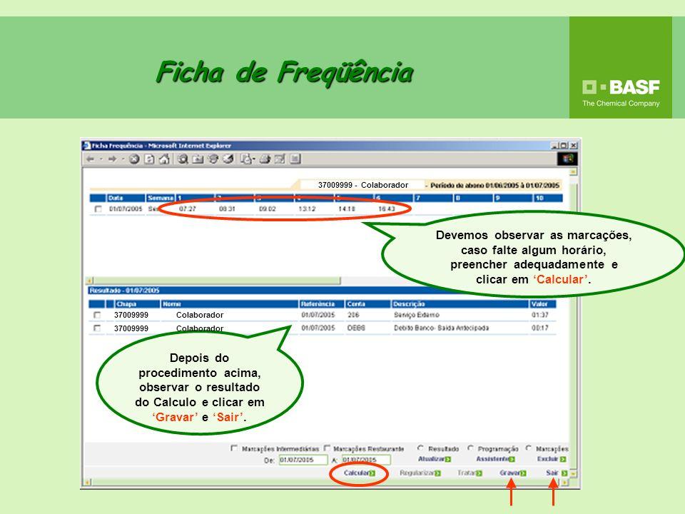 Ficha de Freqüência 37009999 - Colaborador.