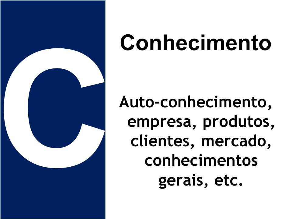 C Conhecimento Auto-conhecimento, empresa, produtos, clientes, mercado, conhecimentos gerais, etc.