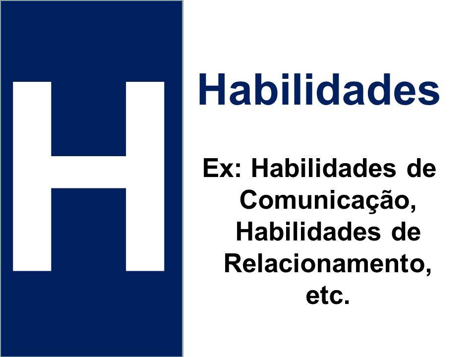 Ex: Habilidades de Comunicação, Habilidades de Relacionamento, etc.