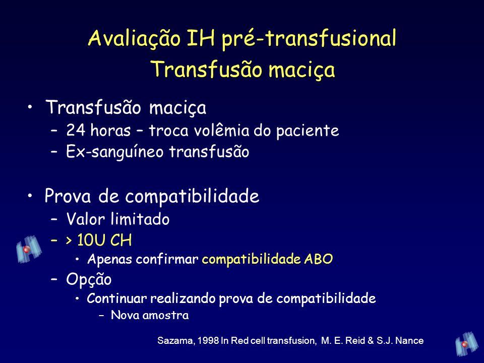 Avaliação IH pré-transfusional Transfusão maciça