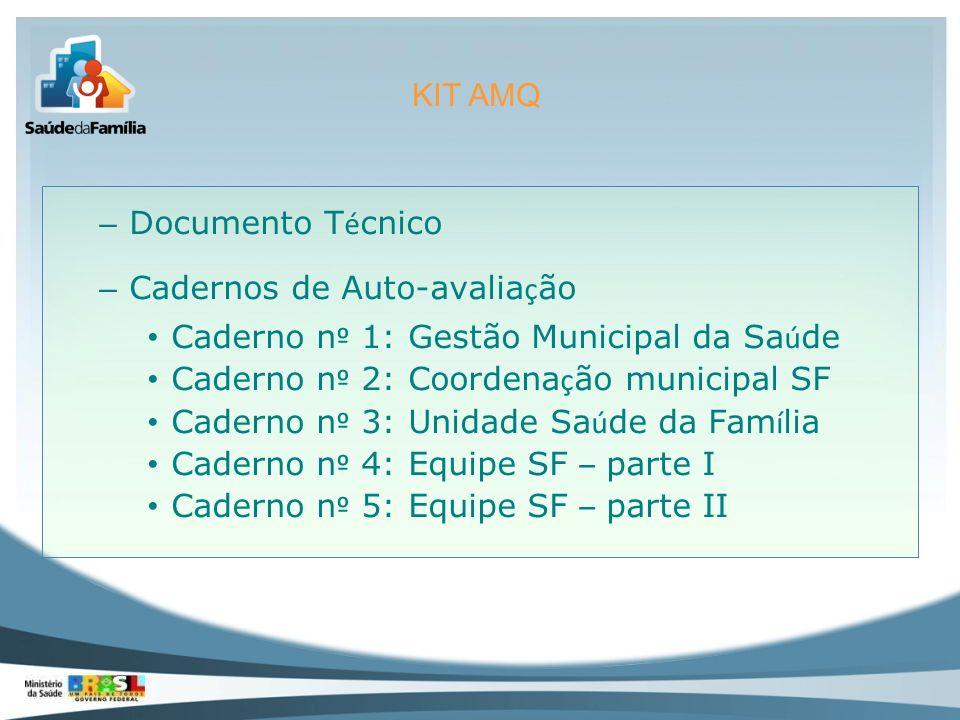 KIT AMQ Documento Técnico. Cadernos de Auto-avaliação. Caderno nº 1: Gestão Municipal da Saúde. Caderno nº 2: Coordenação municipal SF.