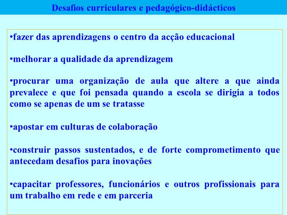 Desafios curriculares e pedagógico-didácticos