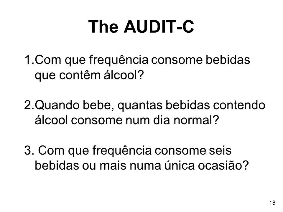 The AUDIT-C Com que frequência consome bebidas que contêm álcool