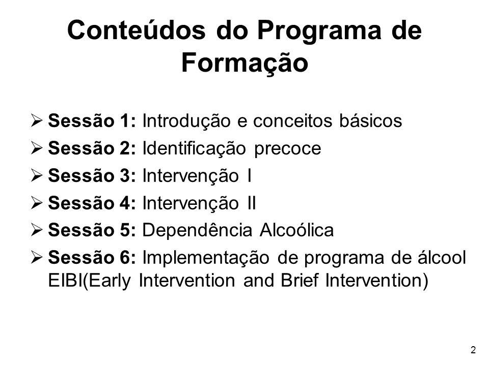 Conteúdos do Programa de Formação