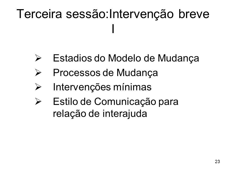Terceira sessão:Intervenção breve I