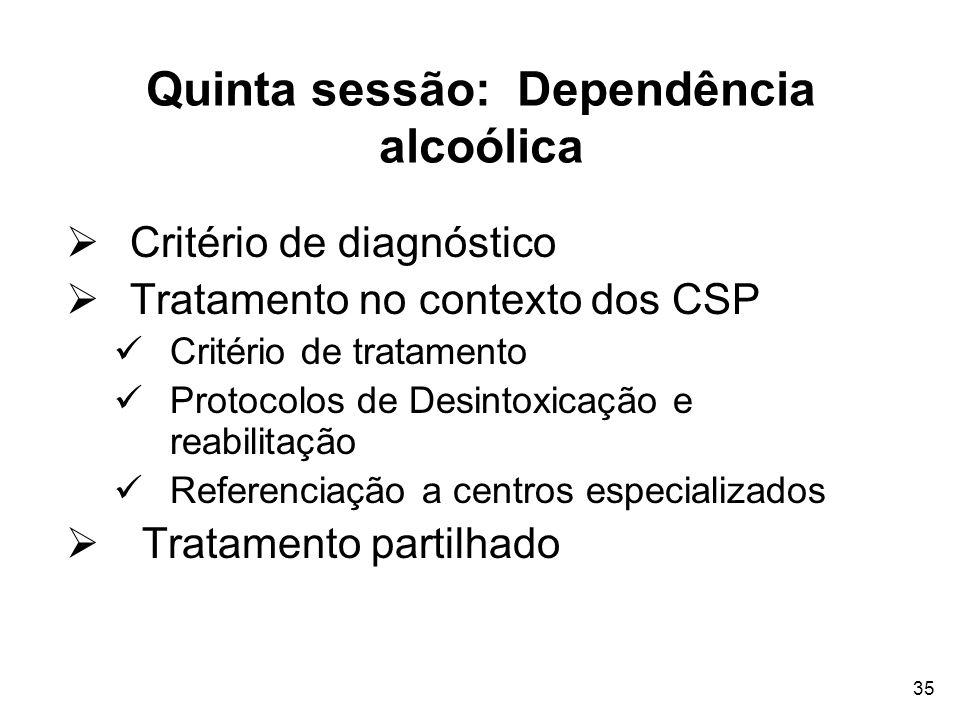 Quinta sessão: Dependência alcoólica