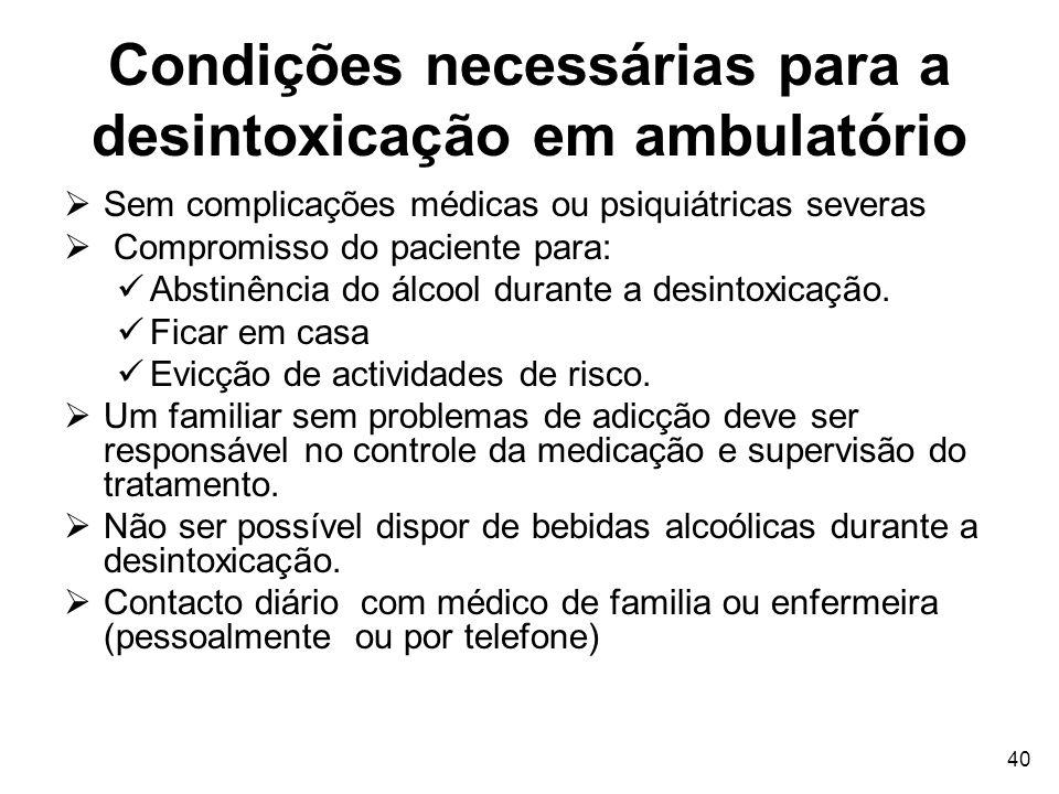 Condições necessárias para a desintoxicação em ambulatório