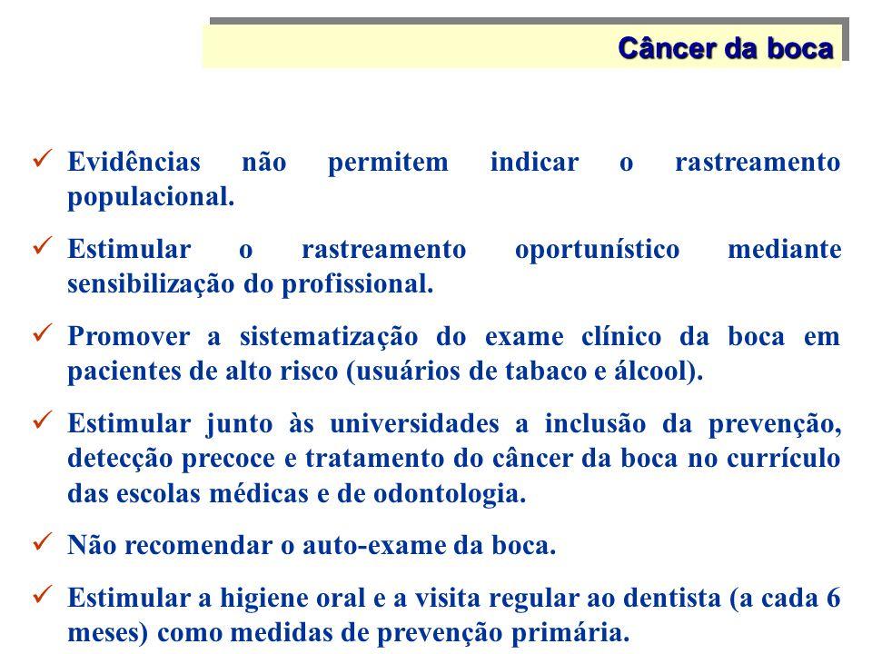 Câncer da boca Evidências não permitem indicar o rastreamento populacional.