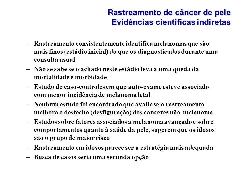 Rastreamento de câncer de pele Evidências científicas indiretas