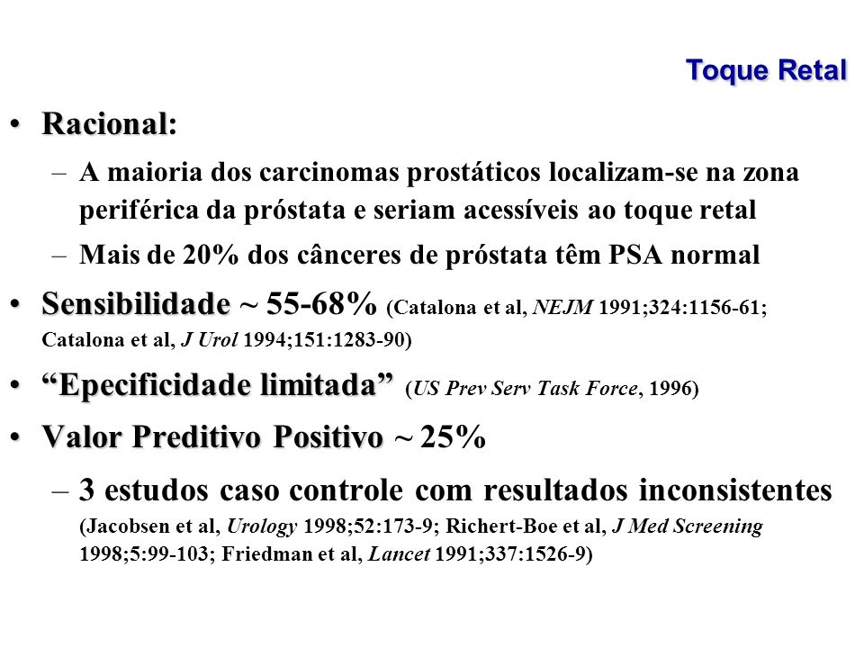 Epecificidade limitada (US Prev Serv Task Force, 1996)