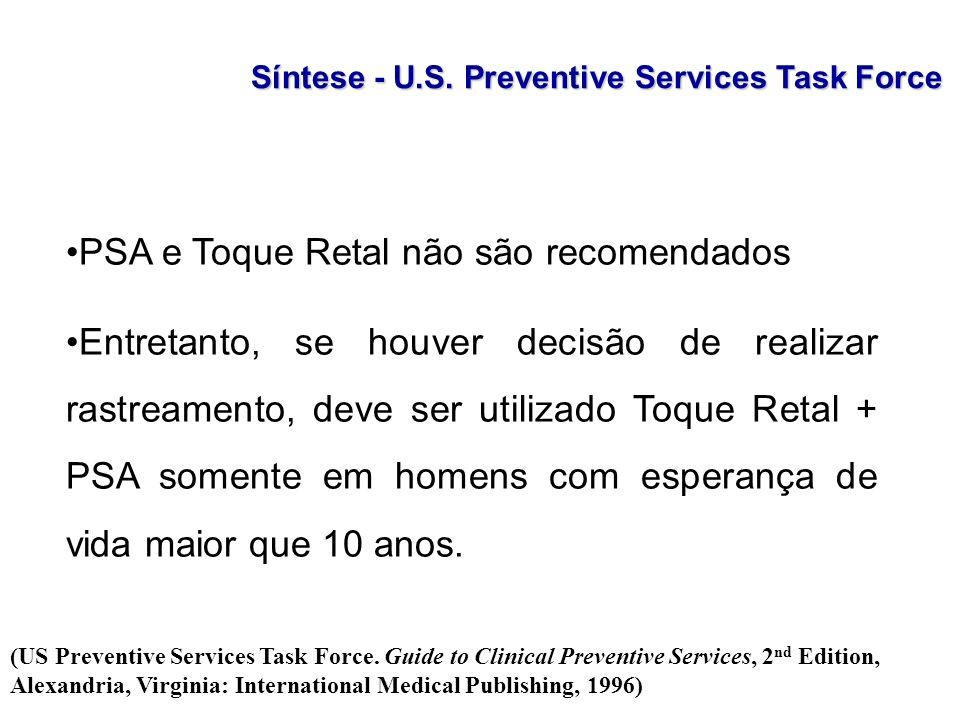 PSA e Toque Retal não são recomendados