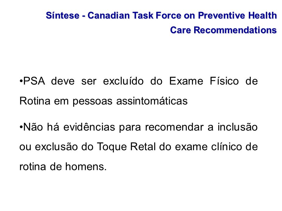Síntese - Canadian Task Force on Preventive Health Care Recommendations