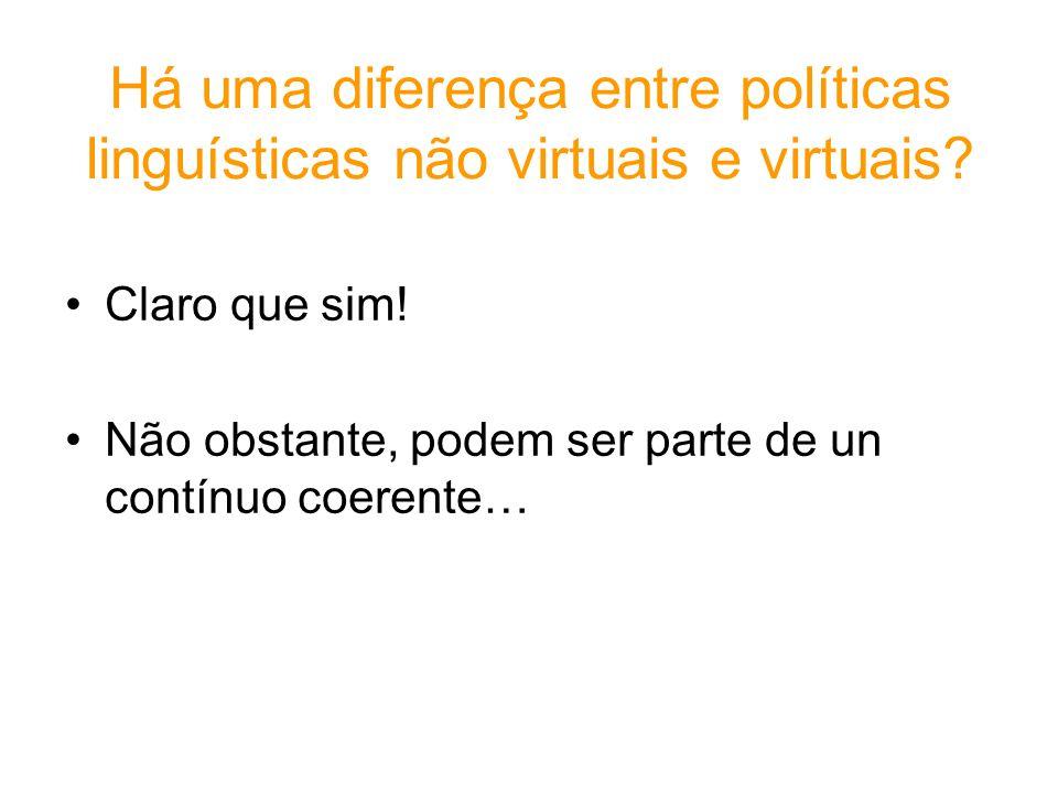 Há uma diferença entre políticas linguísticas não virtuais e virtuais