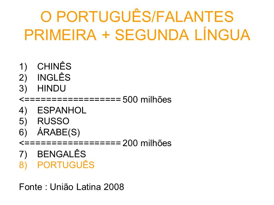 O PORTUGUÊS/FALANTES PRIMEIRA + SEGUNDA LÍNGUA
