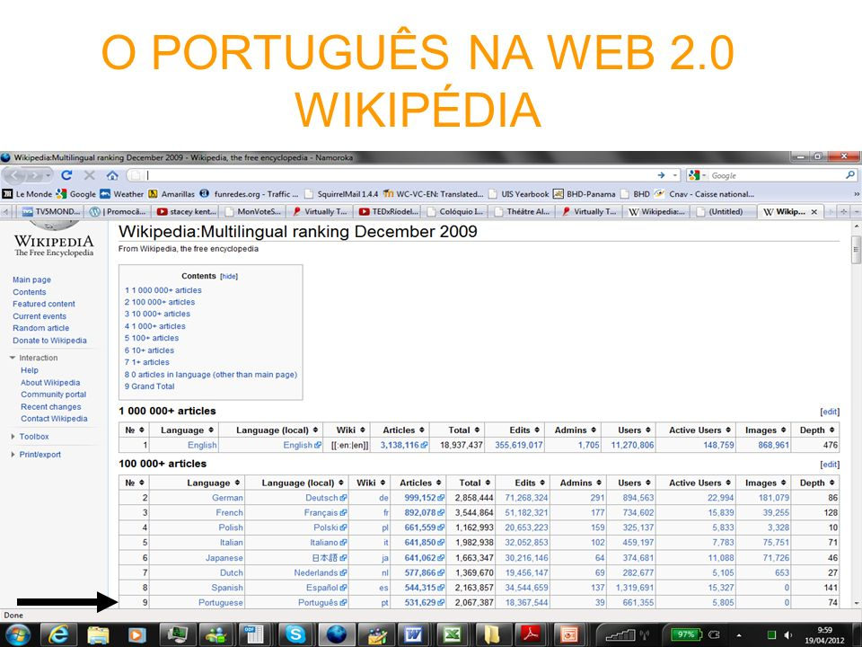 O PORTUGUÊS NA WEB 2.0 WIKIPÉDIA